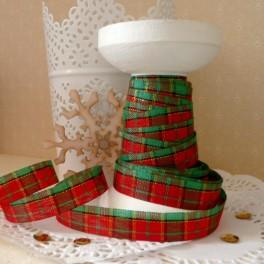 Wstążka w szkocką kratkę 12 mm czerwono-zielona