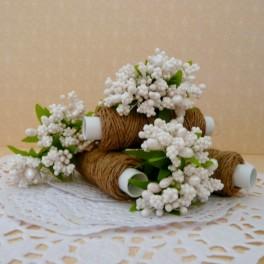 Pręciki w kiściach 6 szt. perłowe białe