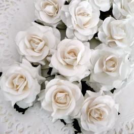 Eleganckie róże 40 mm białe