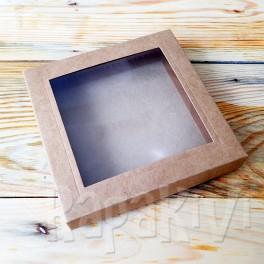 Pudełko z okienkiem kwadratowe 14,5 cm kraft