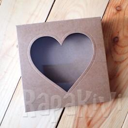 Pudełko z sercem kwadratowe, 300 g, kraft