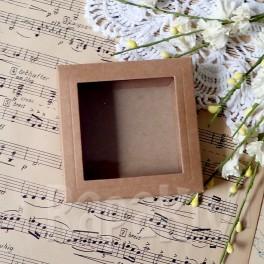 Pudełko mini 8 cm z okienkiem, 300 g, kraft