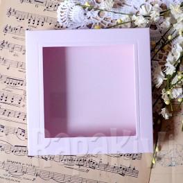 Pudełko na kartkę kwadrat z okienkiem 14,5 cm róż pastelowy