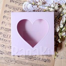 Pudełko na kartkę kwadrat z sercem róż pastelowy