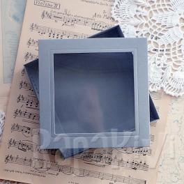 Pudełko z okienkiem kwadratowe szare