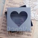 Pudełko z sercem kwadratowe szare