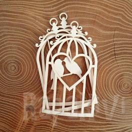 Shaker box klatka z sercem i ptaszkami