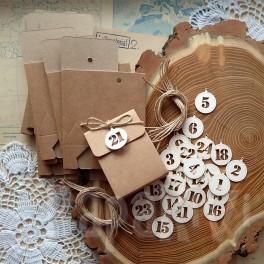 Kalendarz adwentowy - torebki kraft i numerki - wzór 1