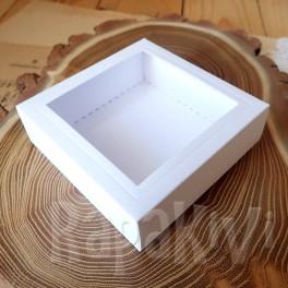 Pudełko 10x10x3,5 cm z okienkiem białe