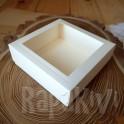 Pudełko 10x10x3,5 cm z okienkiem kraftowe