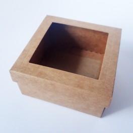 Pudełko mini 8x8x4 cm z okienkiem kraft
