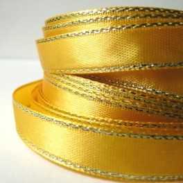 Wstążka ze złotą nicią 10 mm żółta
