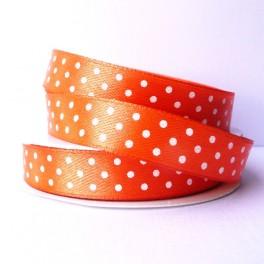 Wstążka w groszki 12 mm pomarańczowa