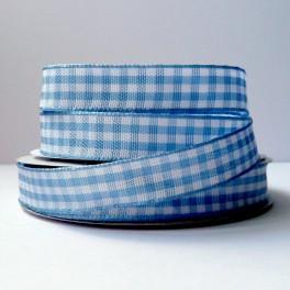 Wstążka w kratkę 12 mm błękitna z lamówką