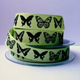 Wstążka w motyle 15 mm zielona