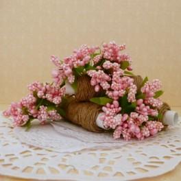 Pręciki w kiściach 6 szt. perłowe różowe