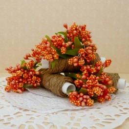 Pręciki w kiściach 6 szt. perłowe pomarańczowe