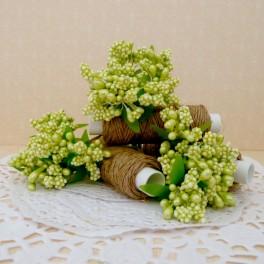 Pręciki w kiściach 6 szt. perłowe zielone