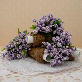 Pręciki w kiściach 6 szt. perłowe fioletowe