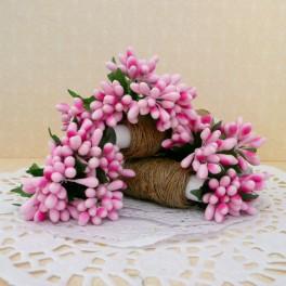 Pręciki drobne w kiściach 5 szt. różowe