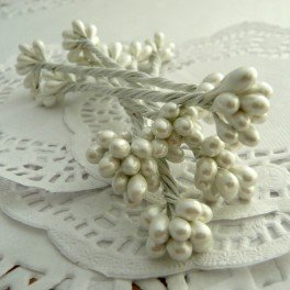 Pręciki perłowe 3 mm białe
