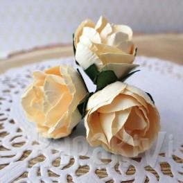 Róże pełne kremowe 3 szt.