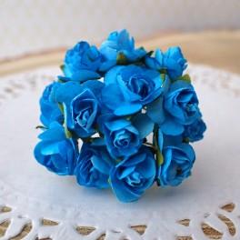 Mini różyczki 10 mm niebieskie