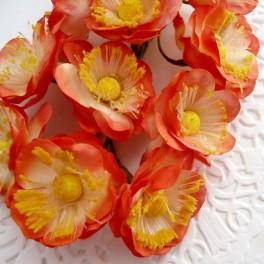 Kwiatuszki pomarańczowe 30 mm 6 szt.
