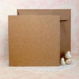 Bazy kwadratowe 14,8 cm + koperty, kraftowe, 50 szt.