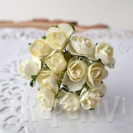 Mini różyczki 10 mm kremowe