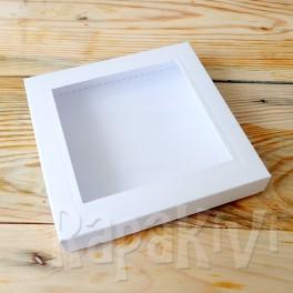 Pudełko z okienkiem kwadratowe, 300 g, białe