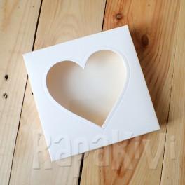Pudełko z sercem kwadratowe, 300 g, krem