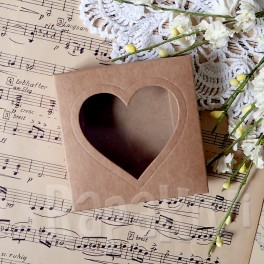 Pudełko mini 8 cm z sercem, 300 g, kraftowe