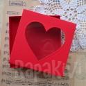 Pudełko z sercem kwadratowe czerwone
