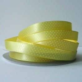 Wstążka w drobne groszki 10 mm jasnożółta