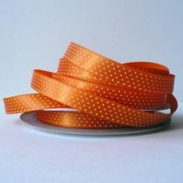 Wstążka w drobne groszki 10 mm pomarańczowa