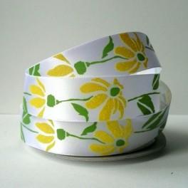 Wstążka w brokatowe kwiaty 22 mm żółta