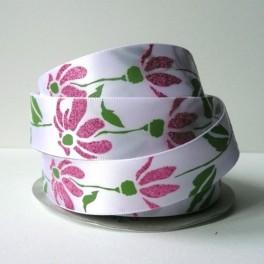 Wstążka w brokatowe kwiaty 22 mm różowa