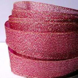Wstążka brokatowa 25 mm karminowo-złota